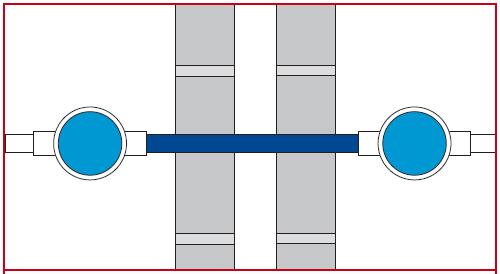Firoblok® rörklämmare monterad i sten-hålrumsvägg